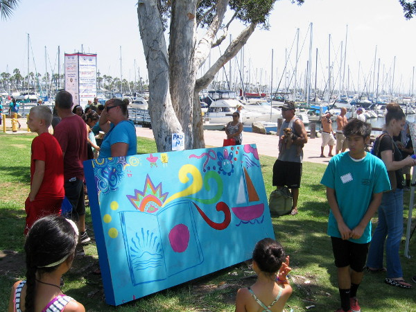 Youth, grown-ups, or anybody at all were invited to paint on this canvas!