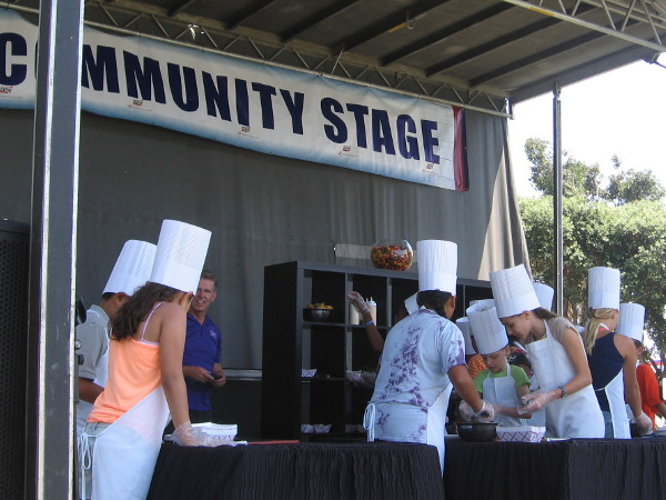 On the Community Stage, a bunch of kids competed in a cooking contest hosted by SeaWorld's Executive Chef Axel Dirolf.