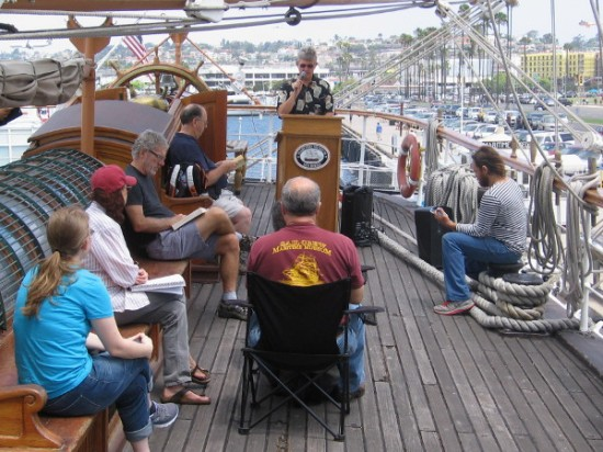 San Diego County Supervisor Dave Roberts begins the Moby Dick Marathon Reading on the poop deck of the Star of India.