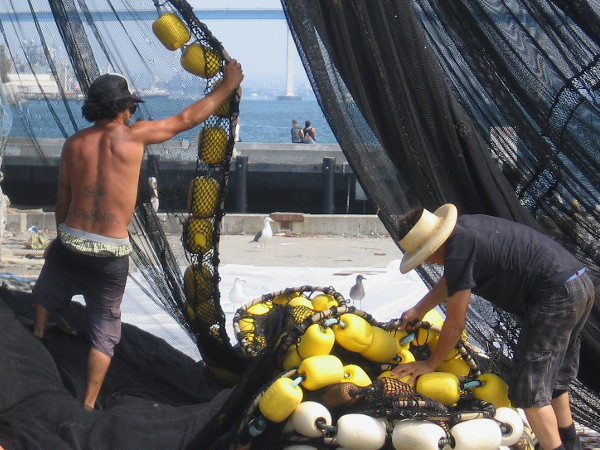 Commercial fishing requires a lot of hard physical work on land, as well as water.
