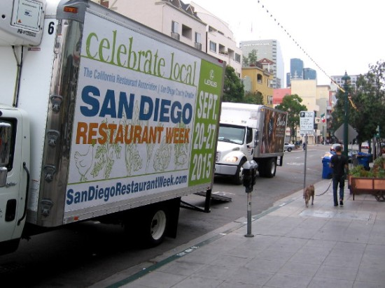 Food delivery truck advertisement promotes San Diego Restaurant Week, September 20-27.