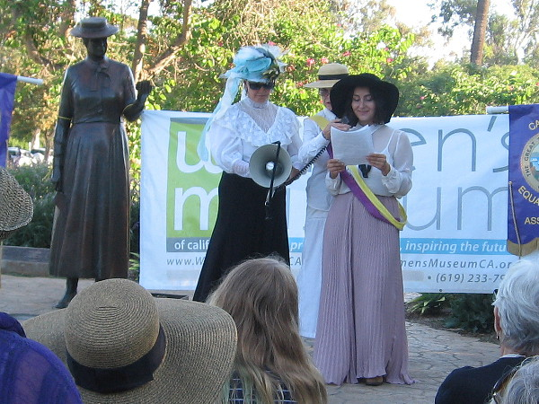 One participant reenacted Eleanor Roosevelt, speaking about her life and accomplishments. The statue is of Kate Sessions, one of the founders of Balboa Park.