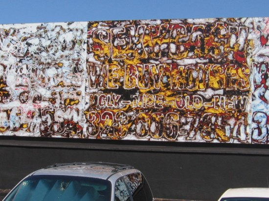 This eye-boggling street mural on Fay Avenue is Sexy Cash, 2015, by Mark Bradford.
