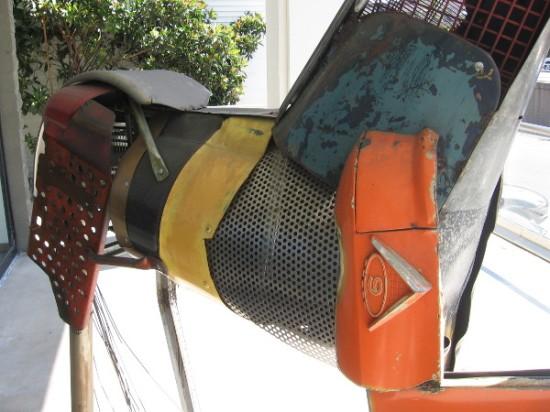 A close-up photo of the imaginative horse sculpture.
