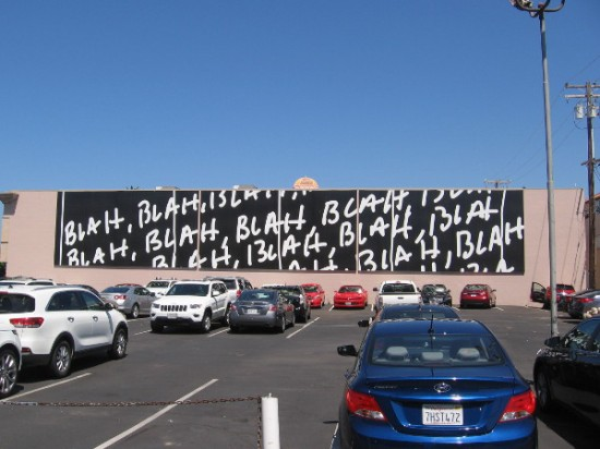Someone walking down Herschel Avenue said she hated this giant mural! It's Blah, Blah, Blah, 2015, by Mel Bochner. Perhaps it gave her the blahs.