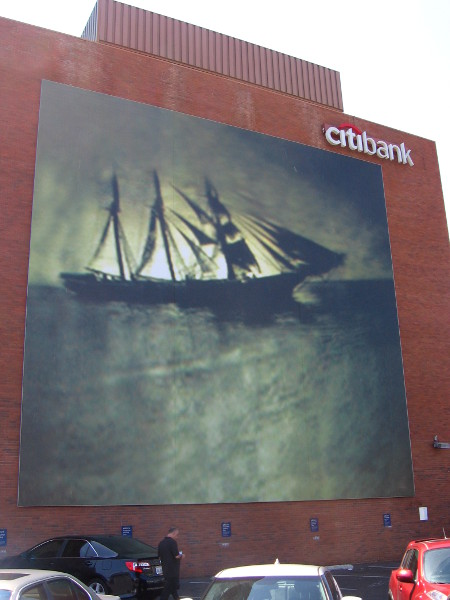 I personally like this mural of a darkly glowing tall ship. at Sea, 2012, Ann Hamilton.
