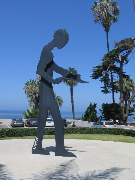 Hammering Man by Jonathan Borofsky at Museum of Contemporary Art San Diego...in La Jolla. I believe years ago this motorized sculpture stood near America Plaza downtown.