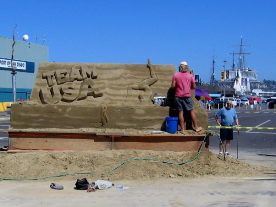 Dan is helping to create this non-competitive sculpture near the entrance to the 2015 U.S. Sand Sculpting Challenge at Harbor Drive.