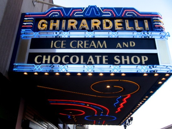 Fun neon adds pizzazz to marquee of Ghirardelli Ice Cream and Chocolate Shop on Fifth Avenue.