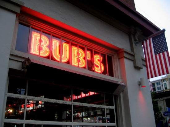 Bub's near Petco Park has its brilliant red name in this window.