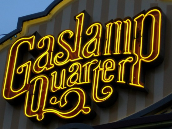 Bright neon in the distinctive Gaslamp Quarter landmark sign, which is well known to locals and tourists.