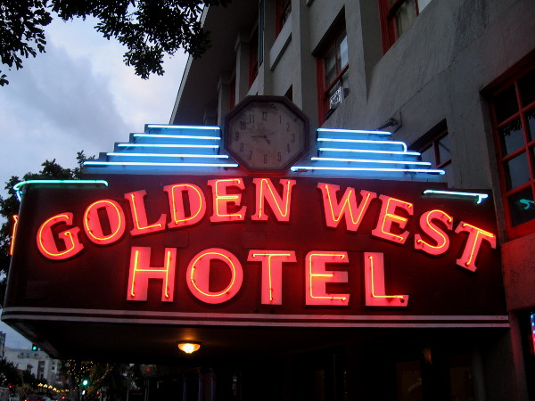 The Golden West Hotel near Horton Plaza has a flashy neon sign above its main entrance.
