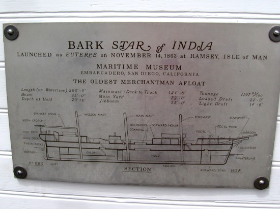 Diagram of Bark Star of India, launched as Euterpe on November 14, 1863 at Ramsey, Isle of Man. The world's oldest active sailing ship and oldest merchantman afloat.