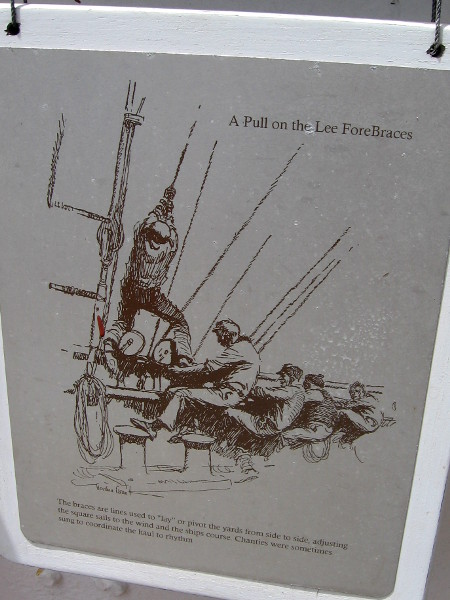 Illustration on plaque found on main deck, showing a Pull on the Lee ForeBraces. The sails must be kept to the wind.