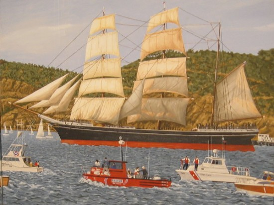 Painting of Star of India under sail by marine artist Frederick Wetzel. The historic three-masted bark is shown clearing Point Loma during a festive event back in 1984.