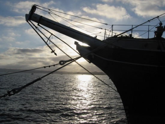 Light shines from behind the figurehead of the beautiful Star of India, a favorite attraction on San Diego Bay.