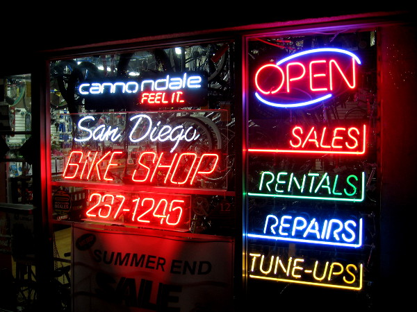 Lots of super colorful neon at the San Diego Bike Shop on C Street.