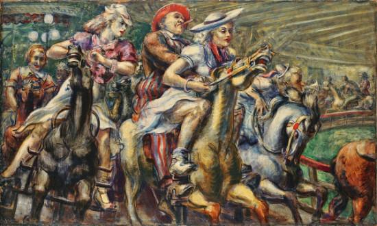 Reginald Marsh, Wooden Horses, 1936, Tempera on board. Wadsworth Atheneum Museum of Art.