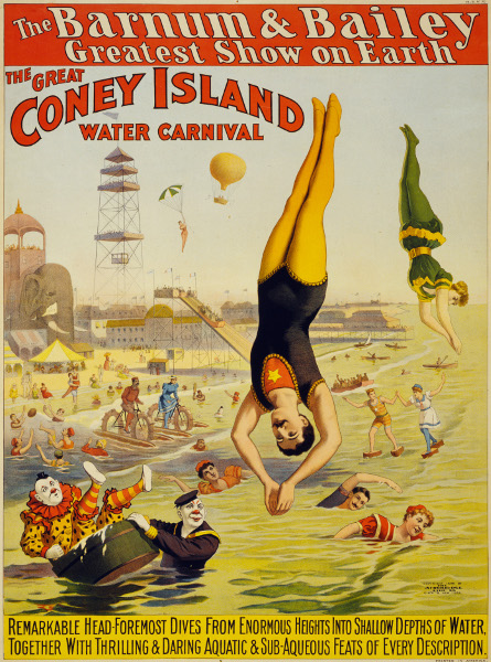Barnum & Bailey Circus Water Carnival poster, Coney Island.
