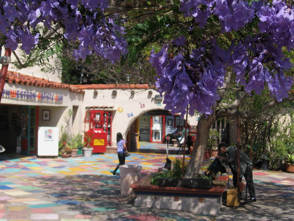 The colorful courtyard of Spanish Village contains abundant beauty, both natural and artistic.
