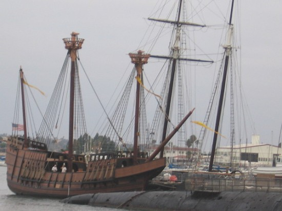 Replica of Juan Rodriguez Cabrillo's galleon San Salvador is now docked at the Maritime Museum of San Diego, adjacent to their B-39 Soviet submarine.