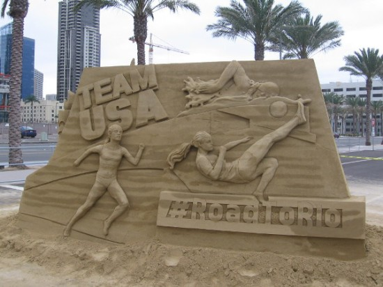 Sand sculpture in front of U.S. Sand Sculpting Challenge in San Diego shows Team USA and Olympians on the Road to Rio!