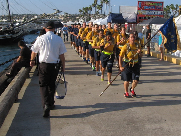 Members of the United States Navy came jogging down the Embarcadero as the day came to an end in San Diego!