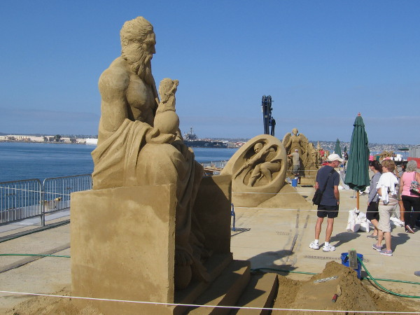 Sue McGrew's sand sculpture titled Father of the Game, a statue-like image of Zeus, Greek king of the gods of Mount Olympus.