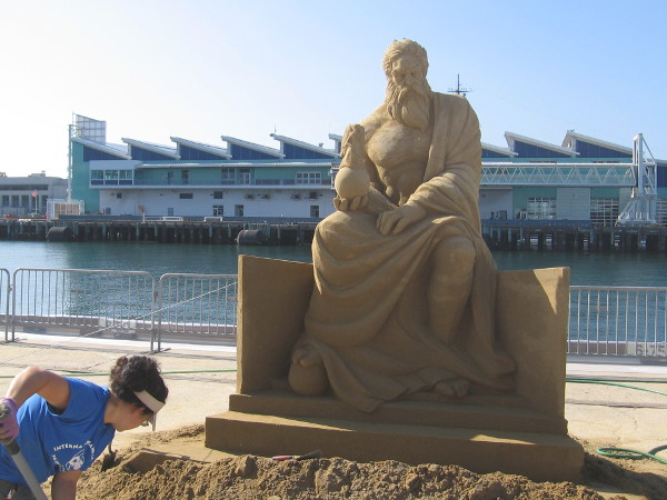 Zeus seems to be sitting at the edge of the B Street Pier in downtown San Diego! The Port Pavilion and the Broadway Pier are in the background.