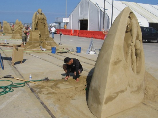 The artists are still at work, getting their pieces ready to be judged this afternoon.