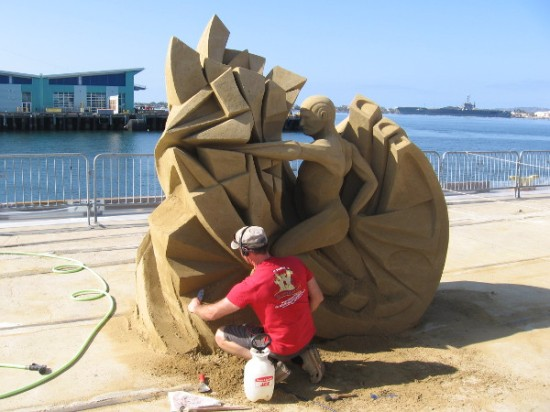 Fergus Mulvany is working on his creation called The Threshold of Momentum. It's a fantastic piece, one of my favorites.