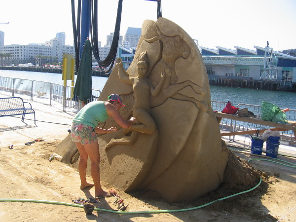 I saw lots of water hoses, buckets, shovels and carving tools being used on the large sand creations.