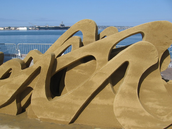 Gazing through some world-class sand art across San Diego Bay toward North Island.