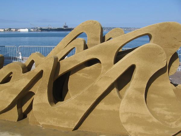 Gazing through some world-class sand art across San Diego Bay toward North Island.