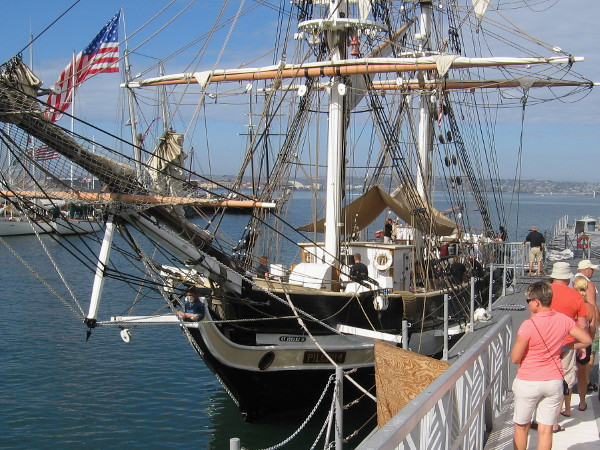 The brig Pilgrim, approximate replica of the historic ship Richard Henry Dana sailed in, is visiting San Diego again for the annual nautical festival.