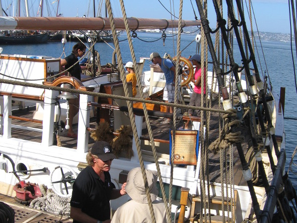 Visitors enjoy touring the deck of the Pilgrim on Sunday morning. It's another sunny summer day on blue San Diego Bay!