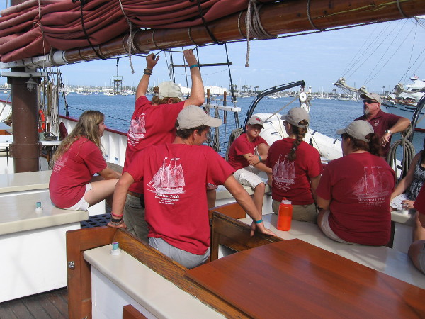 Volunteer crew members of American Pride assembled on deck as their fine ship visits San Diego.