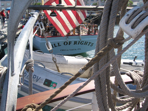 Stern of Bill of Rights seen from rear deck of the brigantine Irving Johnson.