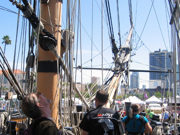 Someone checks out the high masts of HMS Surprise, the ship used in the filming of Master and Commander starring Russell Crowe.