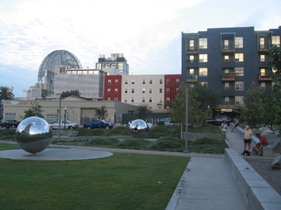 Morning photo of the new Fault Line Park in San Diego's East Village. The Central Library's dome is visible in the background.