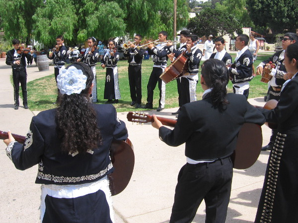 The award-winning Chula Vista High School Mariachi performers warm up before going on stage.