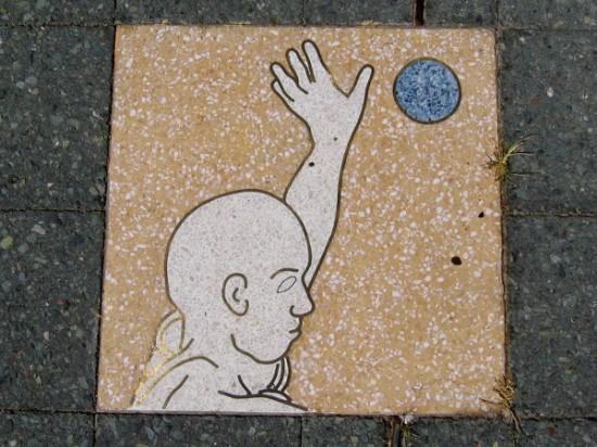 Dynamic artwork shows human physical activity while moving along life's circle.