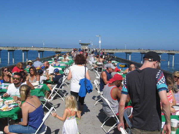 Tables were arranged near the end of the pier for the special, super popular annual event.