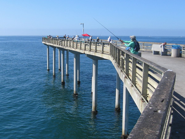 These fishermen at the t-shaped end of the pier are trying to catch bass, bonito, mackerel, or just about anything that bites!