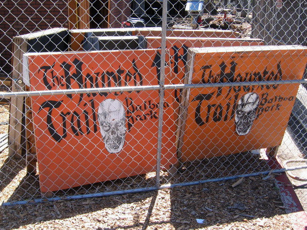 The Haunted Trail is under construction on the west end of Balboa Park. Workers seem to be just getting started.