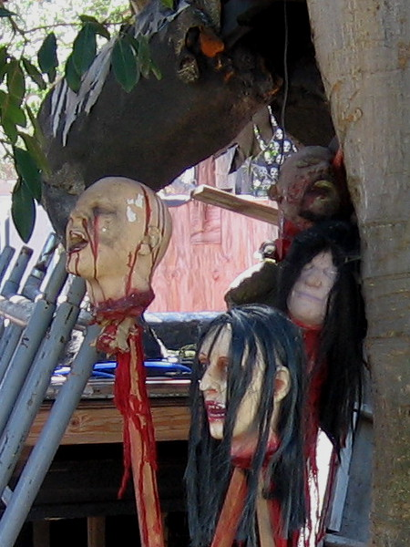 Bloody decapitated heads on pikes will scare thrill-seekers in the dark of night!