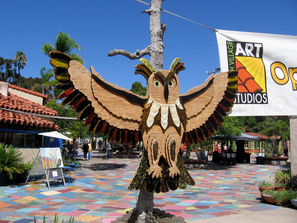 And this owl with spread wings is keeping an eye on the main entrance to Spanish Village, which is to the south.
