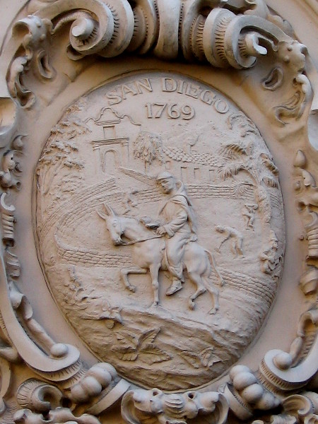 More artwork seen from Balboa Park's historic El Prado shows Franciscan friar on a horse near the Roman Catholic Mission San Diego de Alcalá, which was founded in 1769.