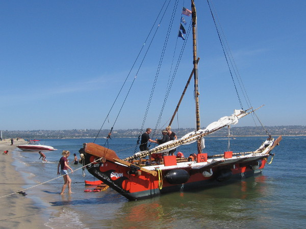 Chamorro outrigger canoe (proa) Sakman could be boarded by curious festival visitors at Ski Beach.