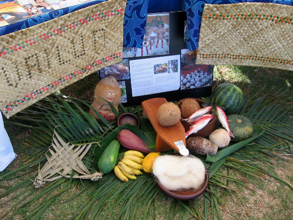 Typical foods one might find on a South Pacific Ocean island.